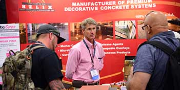 Chris Sullivan meets with buyers at the Concrete Decor Show.