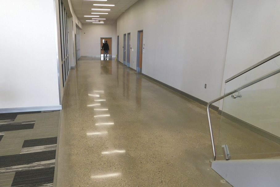 Unfortunately, the other trades went about their business without protecting the floors during construction, says Polished Concrete Consultants' David Stephenson, who oversaw the CTC's concrete placement, finish, polish and maintenance.