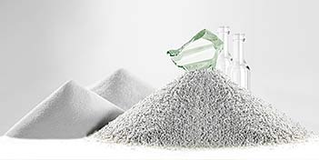 Glass flour next to a pile of other glass aggregate.