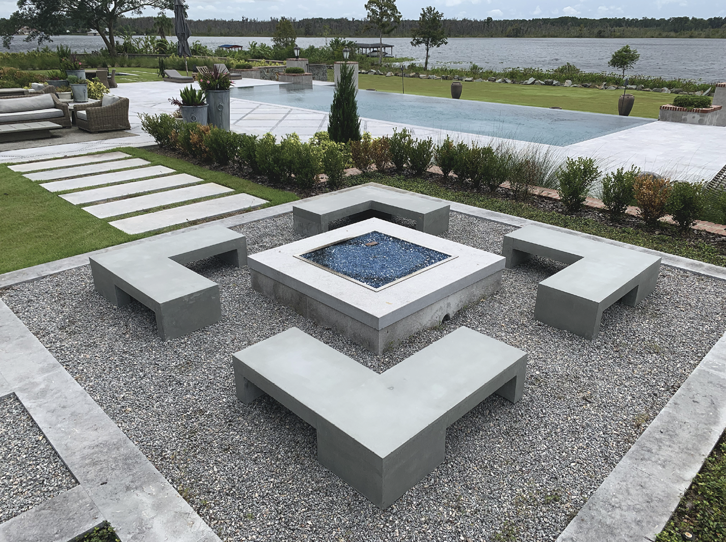 outdoor concrete benches and firepit