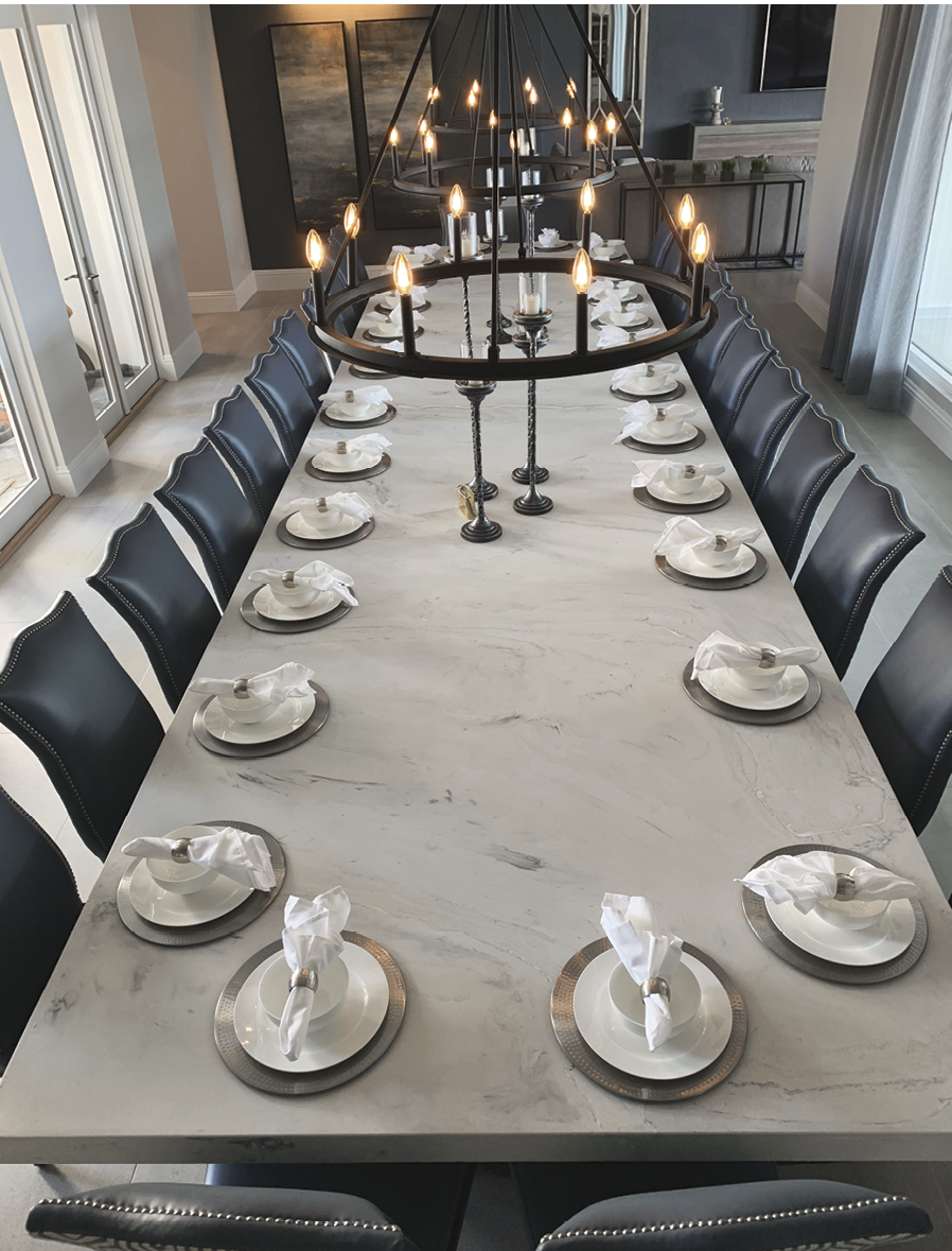Concrete Dining Table set with full place