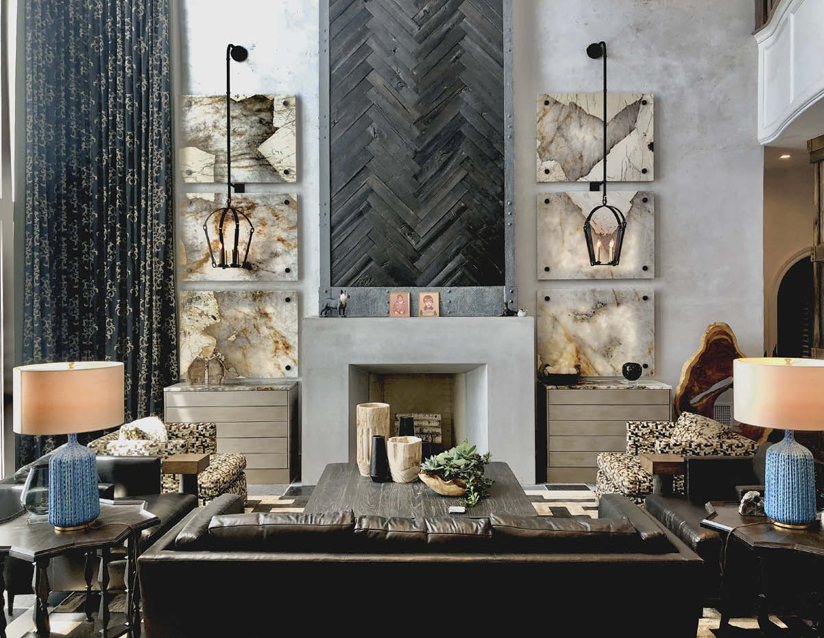 Home decor taken up a notch with concrete accents and a concrete fireplace surround