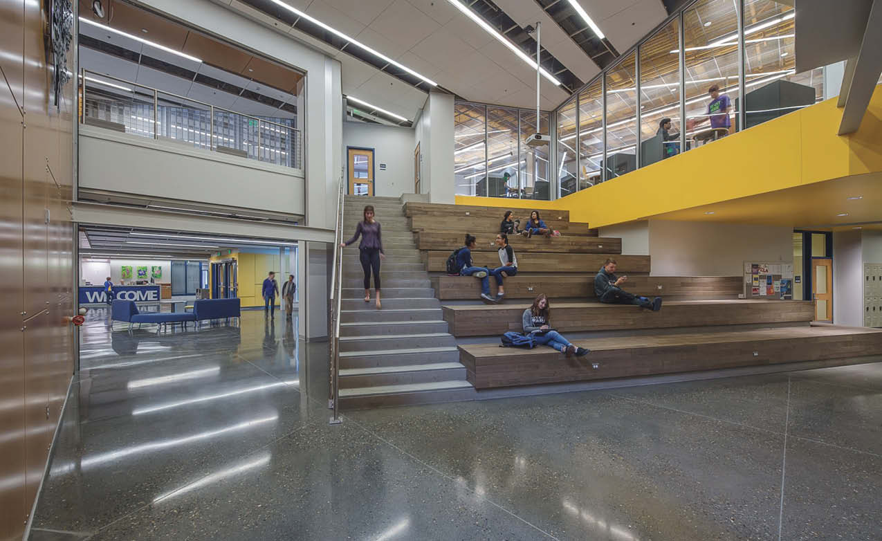 Kodiak High School in Alaska is one of many educational institutions across the country that have chosen to use polished concrete in their facilities because of its ease of maintenance and durability.