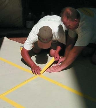 Surface preparation prior to the installation of a concrete stencil ensures less work when cleaning up.
