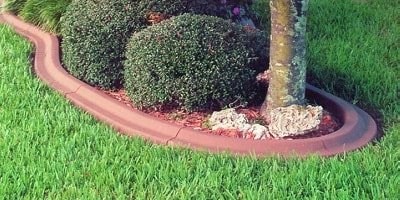 Decorative concrete curb or edging around flower bed separates the grass from the bark mulch under the tree.