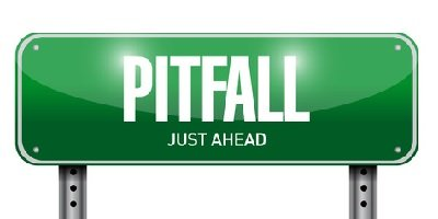 Green street sign with Pitfall ahead written on it. Preparation and Timing are Everything with Fast-Drying, Self-Leveling Toppings