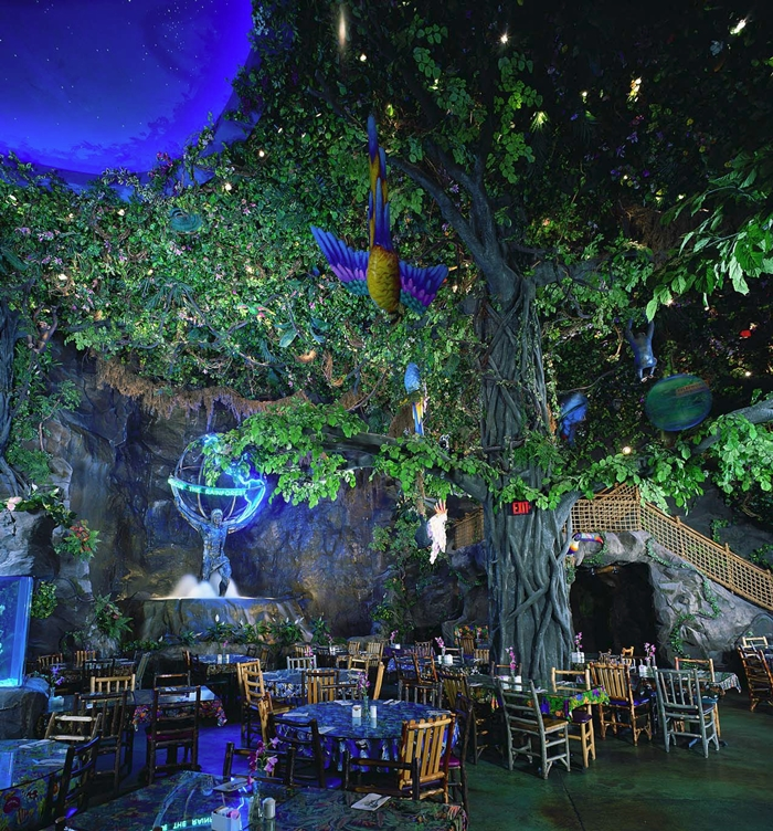 Custom concrete in a the famous Rainforest Cafe brings the feeling of the rainforest indoors.