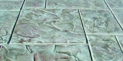 Renew-Crete stampable overlay mix comes in 30 pre-mixed colors and is simple to use. Stamped concrete that looks like stone tile.