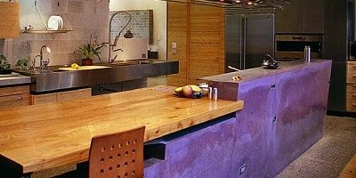 Purple concrete countertop in a Berkeley, California, tea house made by Fu-Tung Cheng.