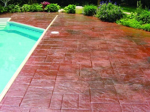 After completing maintenance on a stamped concrete pool deck.