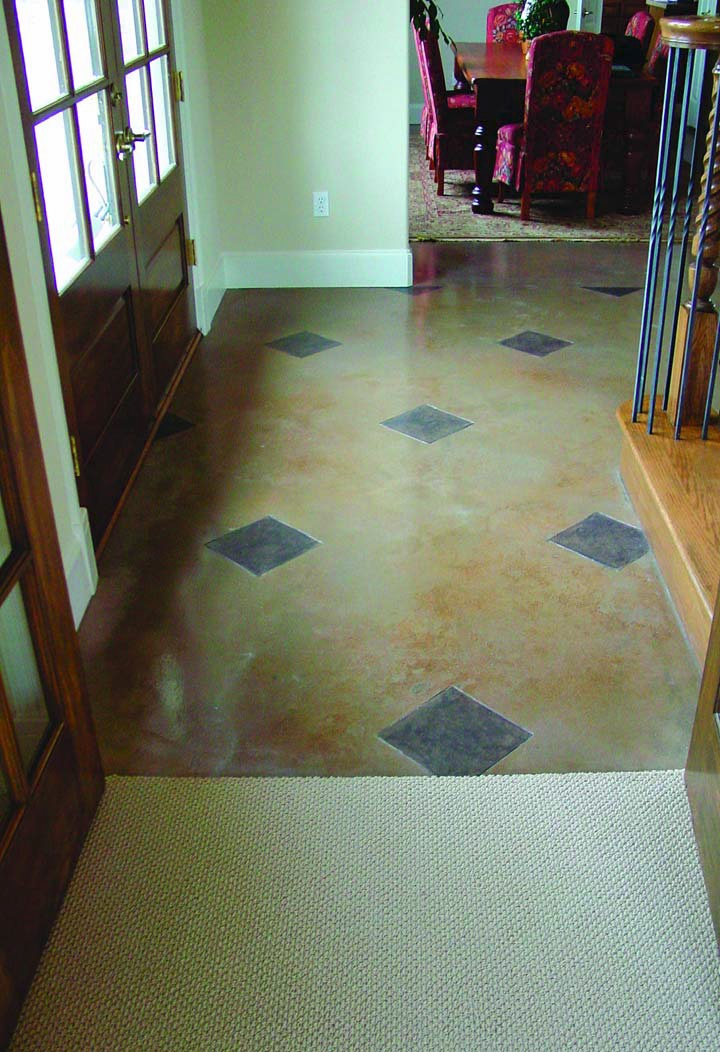 Acrylic Stained concrete in the entryway of a San Antonio residence
