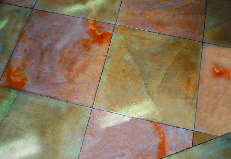 A colorful concrete floor creates depth and shows the craftsmanship of this longtime contractor.