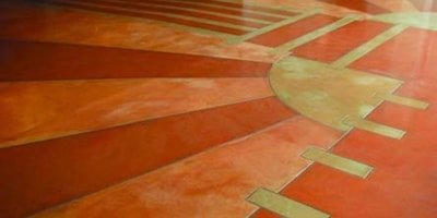 Bright colors on this restored concrete floor bring life back to an important piece of history