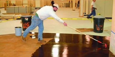 Step by step process of an overlay concrete floor with acid etch stain