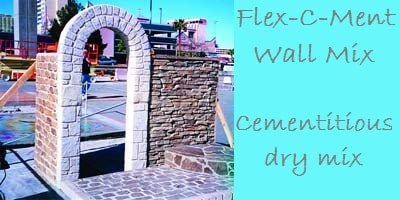 Cementitious dry mix for vertical carving of concrete or a concrete coating wall system by Flex-C-Ment.