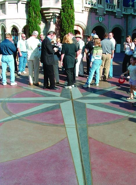 Tour of concrete participants learn that the compass rose outside of Cinderella Castle in the Magic Kingdom was made possible with a lot of rebar and color hardener.