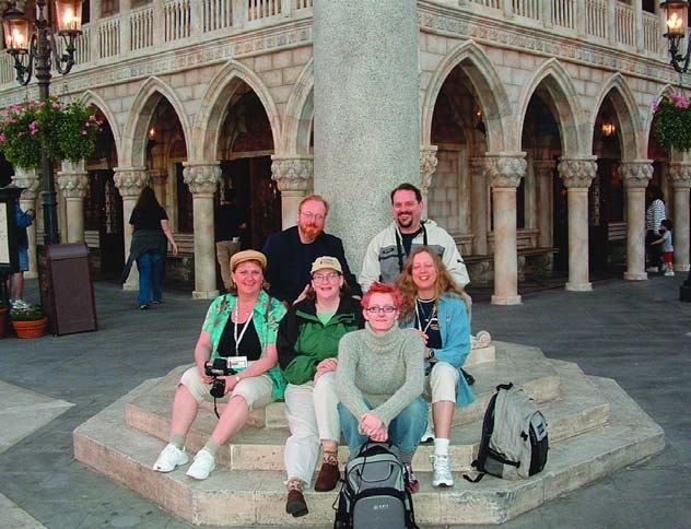 The hardworking crew from Concrete Decor magazine poses for posterity at a plaza in Epcot before dinner.