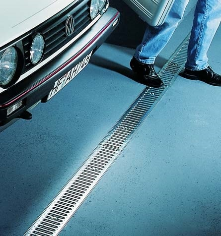 Channel drains placed into concrete are useful in garages where snow may melt off of a car onto the concrete floor.