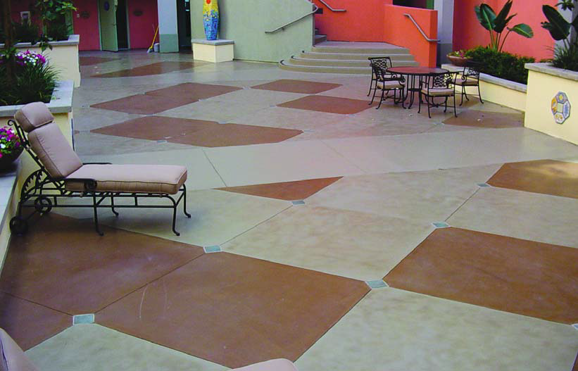 This lounging area has been taken up a notch with a red and gray checkerboard pattern on the ground.