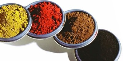 Iron oxide pigments in yellow, red, brown and black.