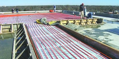 Radiant heat elements for a concrete slab to help with snowmelt.