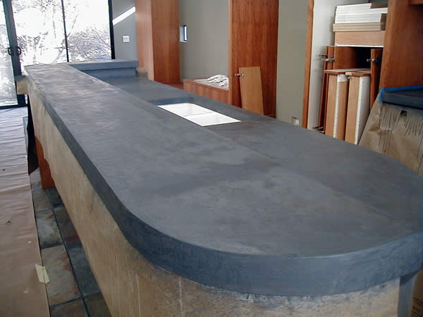 A Closer View Of Kitchen Island With Concrete Countertop