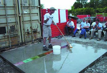 Training in decorative concrete comes often times straight from the manufacturer as is the case here with QC Construction Products.