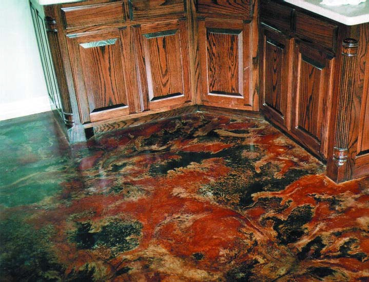 This interior overlay used Elite Crete's Thin-Finish as a base coat with a single-colored coat of Micro-Finish. Then it was colored with Chem-Stone and Ultra-Stone stains to get the wild marbling.
