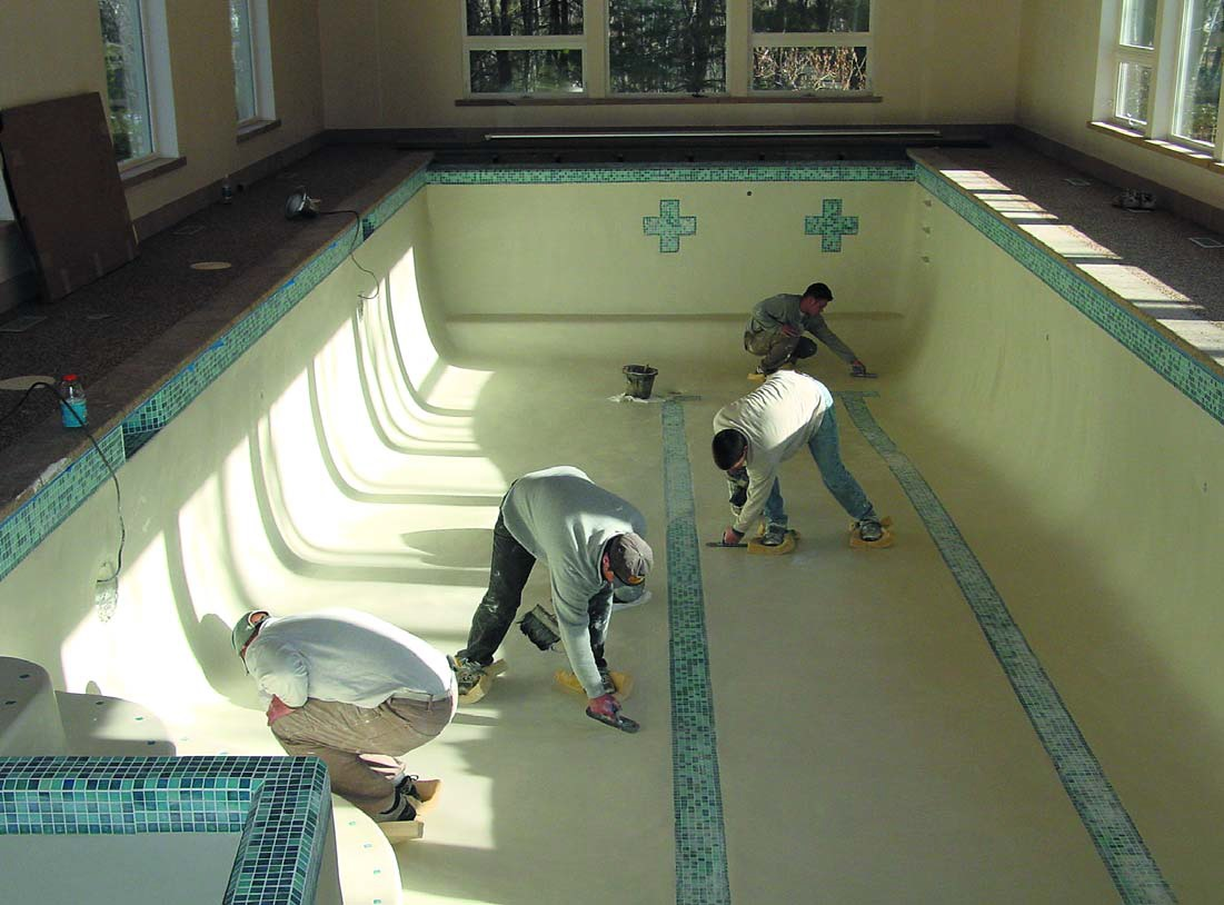 Pool contractors use metakaolin to make plaster more resistant to erosion and corrosive chemicals. The white additive brightens plaster and improves workability to reduce trowel burn and mottling. Photo courtesy of Engelhard Corp.