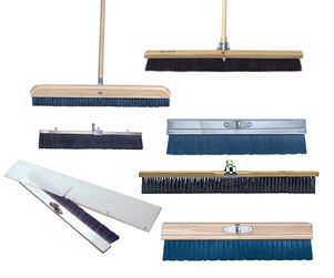 But while brooming is as simple as sweeping, finishing brushes and brooms are not ordinary cleaning brooms. They have unique properties that make them specifically suited for putting a textured finish on a slab. The bristles of concrete finishing brooms have more consistent lengths and shapes than those of ordinary brooms
