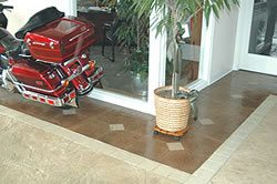 Integral Color: showroom concrete floor tile like look but tougher.