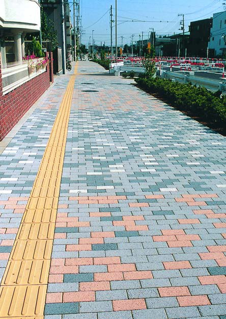 Photocatalysts are used in Japan to keep paving, like these concrete unit pavers,clean and to reduce the effect of air pollution.