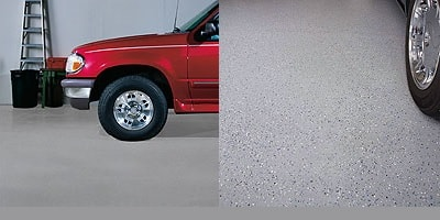 Roll out epoxy floor coatings in your garage adding a bit of fun with mica chips.