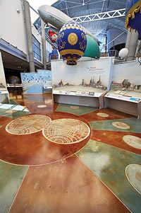 Gaye Goodman used staining, Flattooing and etching techniques to create a floor perfectly suited for the Hot Air Balloon Museum in Albuquerque, N.M.