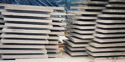 Piles of concrete countertops made for a client who had a short time frame for the order.