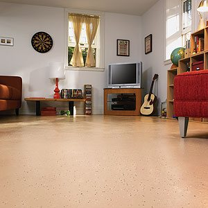 Epoxy floor coating in a family room is a good choice due to its durability.