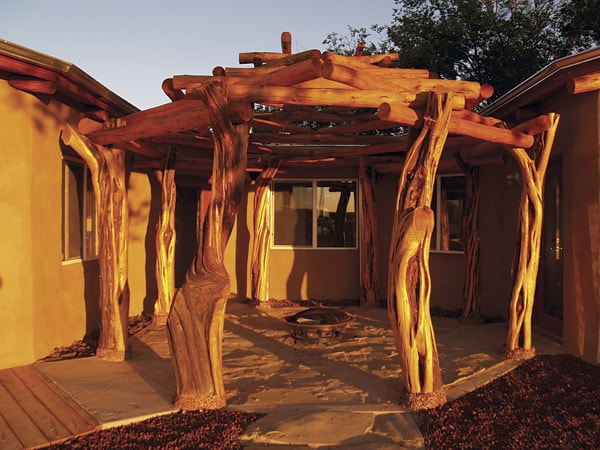 Courtyard at a home in the Navajo Nation where aerated concrete is used to cool homes.