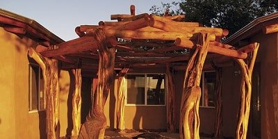 Mary and Kee Augustine's back porch pergola made from FlexCrete's aerated concrete made from fly ash.