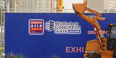 World of Concrete Asia 2006 crate being loaded by a big piece of equipment.