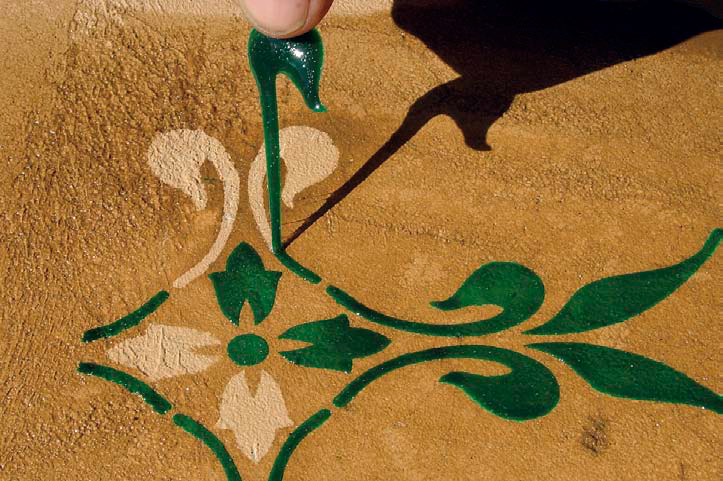 Since 2002, contractors and homeowners have been sponging LesCoat on over stencils or drawing it straight onto the concrete with various techniques, such as using a squeeze bottle, to create decorative effects.