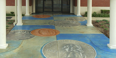 Bank entrance stained with images of coins