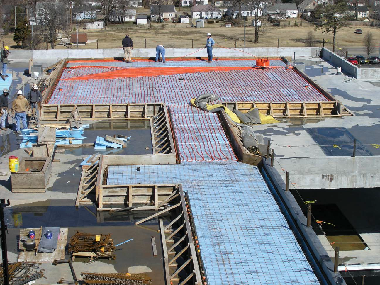 Radiant heat being installed under a helicopter pad.