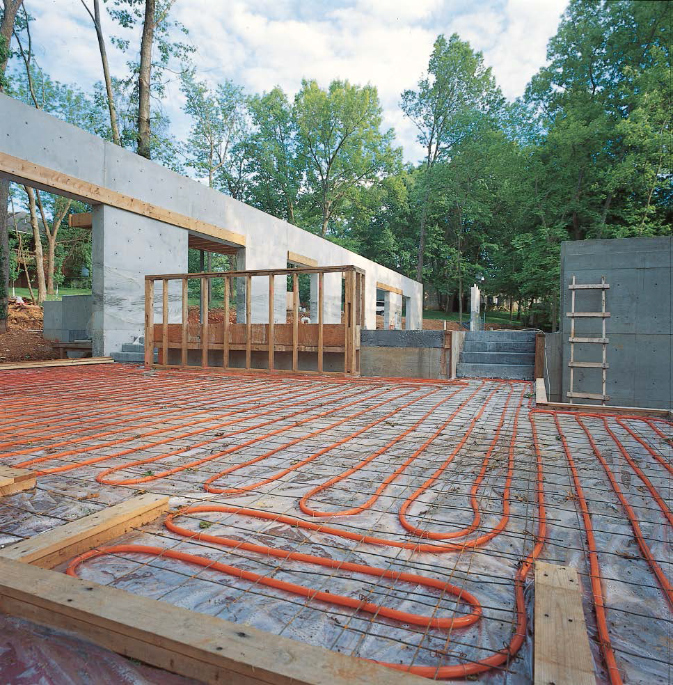 Part of a concrete home with radiant heated floors built in Springfield, Mo.