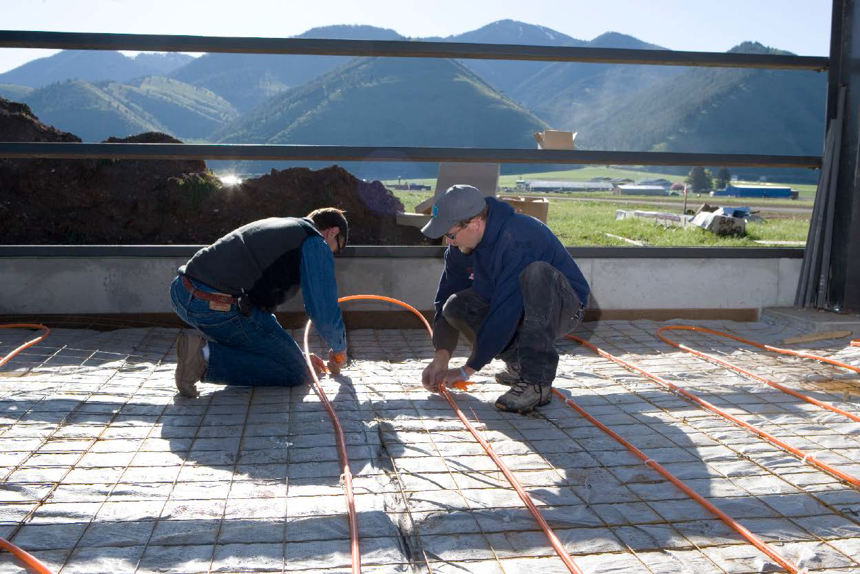 Radiant heat for an interior space that was later covered by stamped concrete.