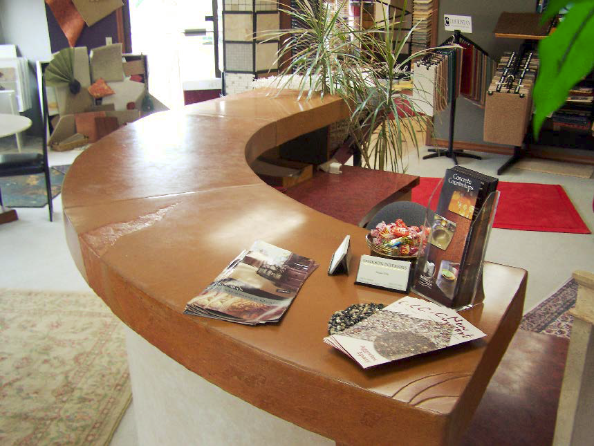 Concrete Curved reception desk made from a form