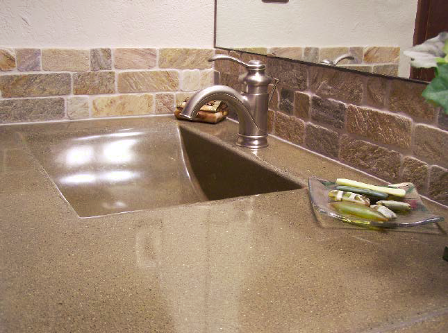Seamless concrete countertop with sink built in
