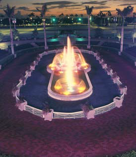 This fountain, located in Gulfstream Park in Hallandale Beach, Fla., is a 2,000-square-foot, cast-in-place concrete structure with cast stone coping and base, hand-painted tiles, and Pebble Tec waterproofing system.