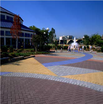 Vibrant decorative concrete in a high traffic area.