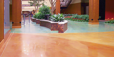 Concrete floor colored with multiple colors.