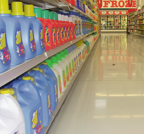 The laundry detergent aisle in a grocery store using silicates.